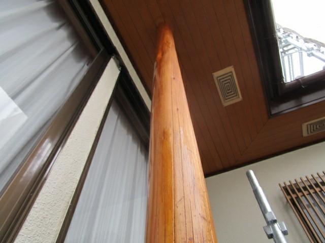 木柱塗装後