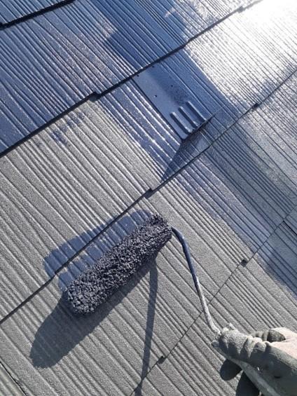 鴻巣市 屋根塗装 上塗り