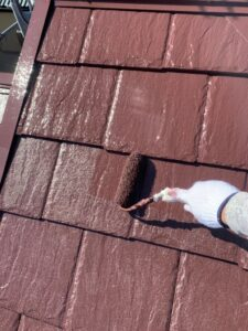 春日部市 屋根塗装 上塗り