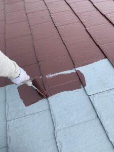 春日部市 屋根塗装 中塗り