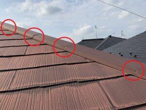 白岡市 屋根 棟板金クギ浮き