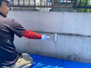 春日部市 外塀塗装 下塗り